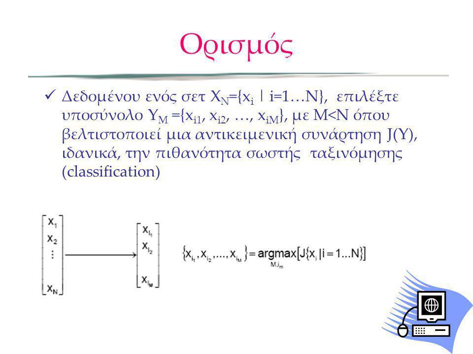 Ορισμός Δεδομένου ενός σετ X Ν ={x i | i=1…N}, επιλέξτε υποσύνολο Y M ={x i1, x i2, …, x iM }, με Μ<Ν όπου βελτιστοποιεί μια αντικειμενική συνάρτηση J