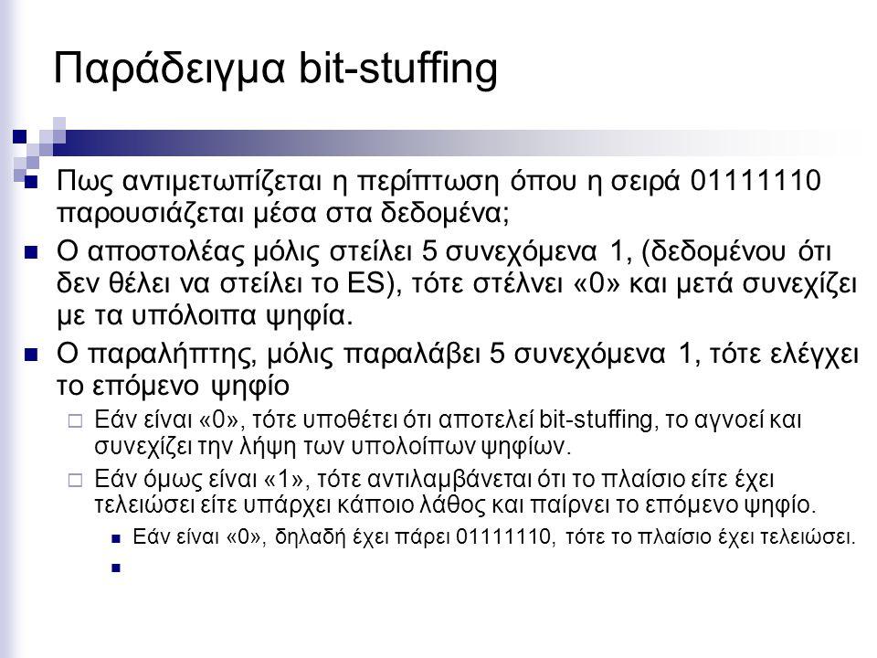 Παράδειγμα bit-stuffing Πως αντιμετωπίζεται η περίπτωση όπου η σειρά 01111110 παρουσιάζεται μέσα στα δεδομένα; Ο αποστολέας μόλις στείλει 5 συνεχόμενα