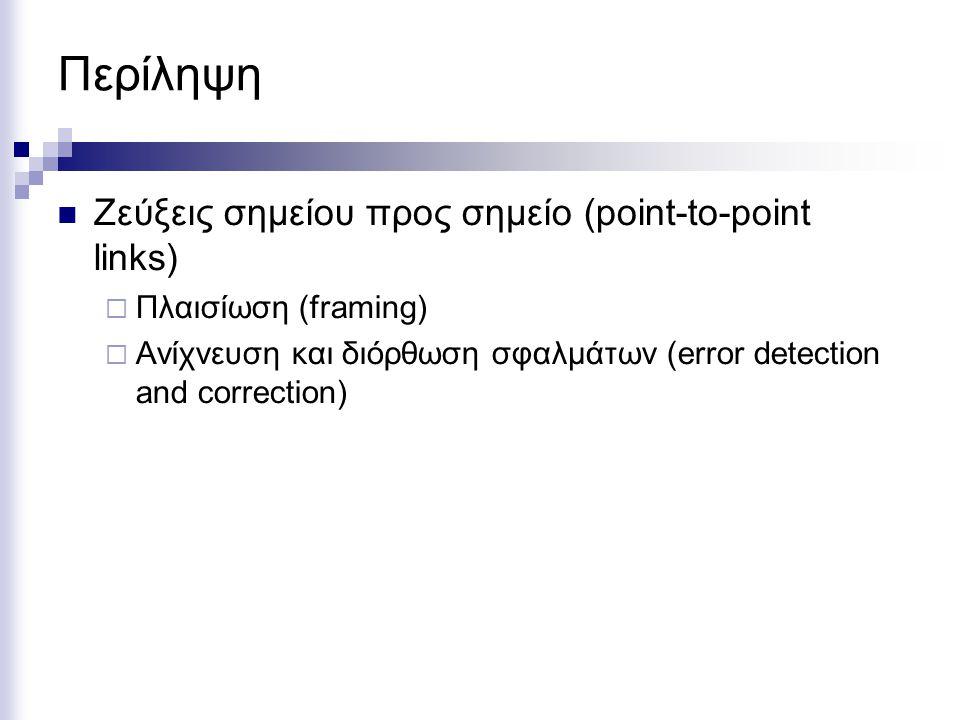 Περίληψη Ζεύξεις σημείου προς σημείο (point-to-point links)  Πλαισίωση (framing)  Ανίχνευση και διόρθωση σφαλμάτων (error detection and correction)