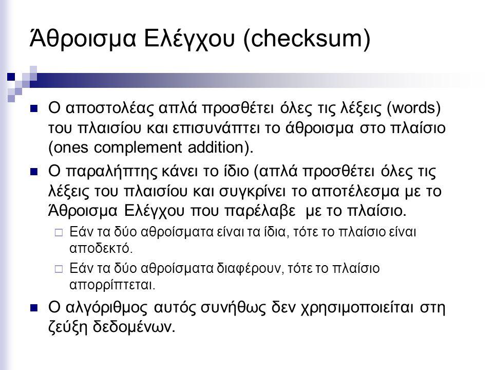 Άθροισμα Ελέγχου (checksum) Ο αποστολέας απλά προσθέτει όλες τις λέξεις (words) του πλαισίου και επισυνάπτει το άθροισμα στο πλαίσιο (ones complement