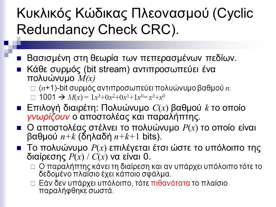 Κυκλικός Κώδικας Πλεονασμού (Cyclic Redundancy Check CRC). Βασισμένη στη θεωρία των πεπερασμένων πεδίων. Κάθε συρμός (bit stream) αντιπροσωπεύει ένα π