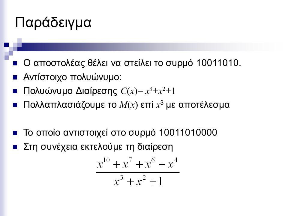 Παράδειγμα Ο αποστολέας θέλει να στείλει το συρμό 10011010. Αντίστοιχο πολυώνυμο: Πολυώνυμο Διαίρεσης C(x)= x 3 +x 2 +1 Πολλαπλασιάζουμε το M(x) επί x