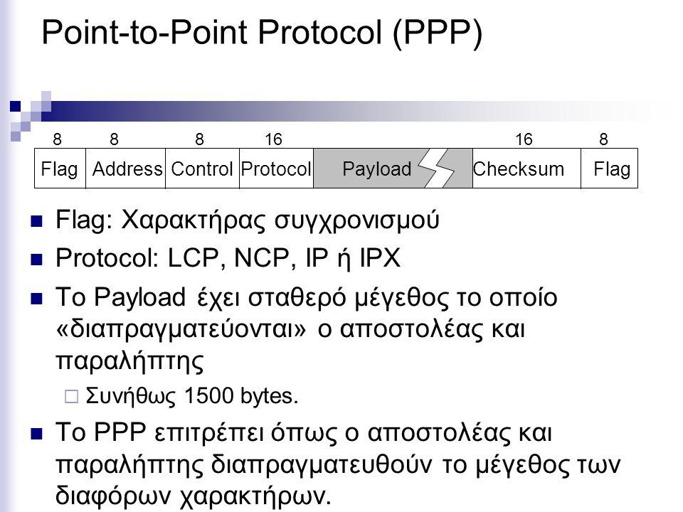 Point-to-Point Protocol (PPP) Flag: Χαρακτήρας συγχρονισμού Protocol: LCP, NCP, IP ή IPX Το Payload έχει σταθερό μέγεθος το οποίο «διαπραγματεύονται»