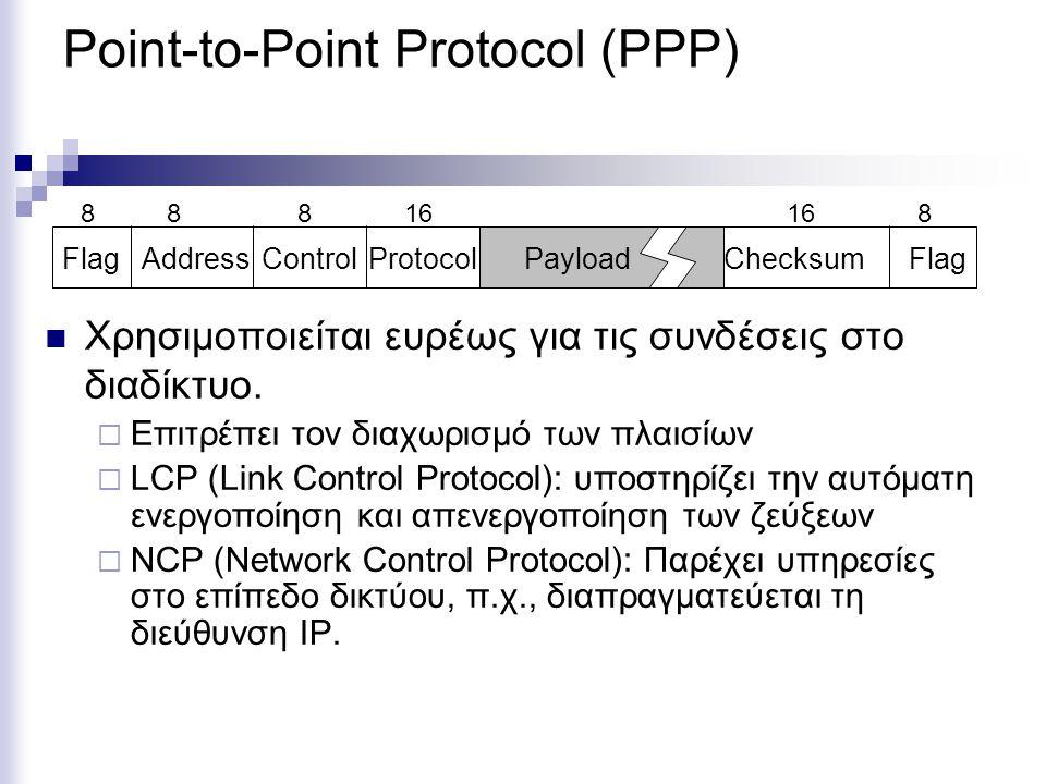Point-to-Point Protocol (PPP) Χρησιμοποιείται ευρέως για τις συνδέσεις στο διαδίκτυο.  Επιτρέπει τον διαχωρισμό των πλαισίων  LCP (Link Control Prot