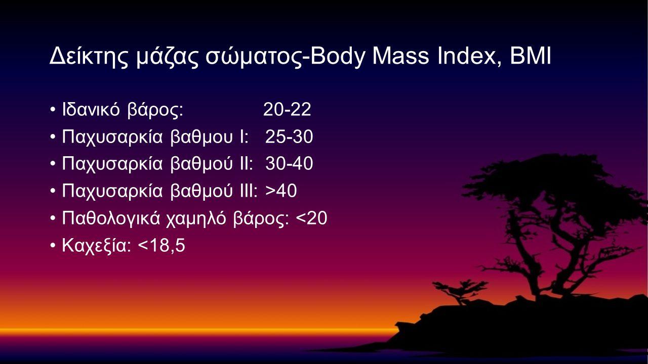 Ιδανικό βάρος: 20-22 Παχυσαρκία βαθμου Ι: 25-30 Παχυσαρκία βαθμού ΙΙ: 30-40 Παχυσαρκία βαθμού ΙΙΙ: >40 Παθολογικά χαμηλό βάρος: <20 Καχεξία: <18,5 Δεί