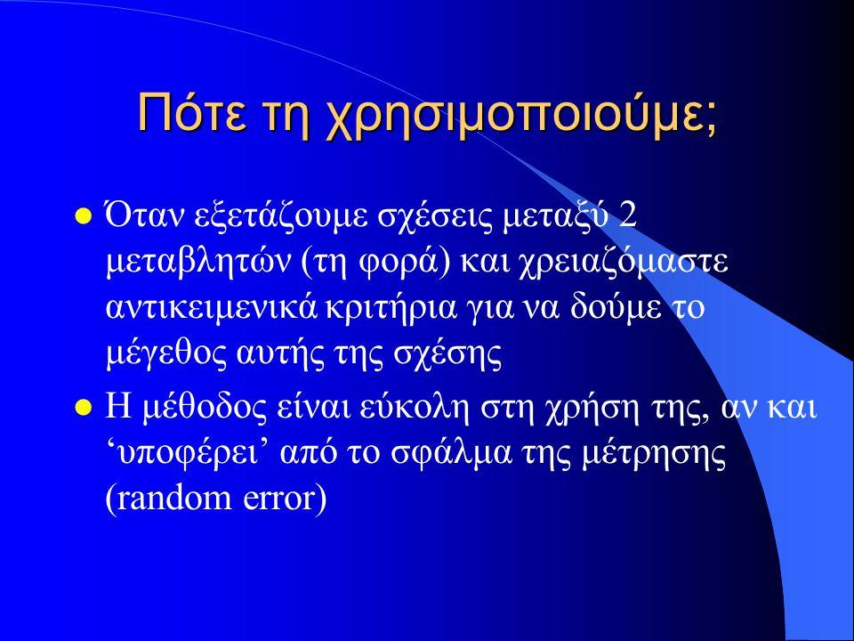 Πότε τη χρησιμοποιούμε; l Όταν εξετάζουμε σχέσεις μεταξύ 2 μεταβλητών (τη φορά) και χρειαζόμαστε αντικειμενικά κριτήρια για να δούμε το μέγεθος αυτής της σχέσης l Η μέθοδος είναι εύκολη στη χρήση της, αν και 'υποφέρει' από το σφάλμα της μέτρησης (random error)