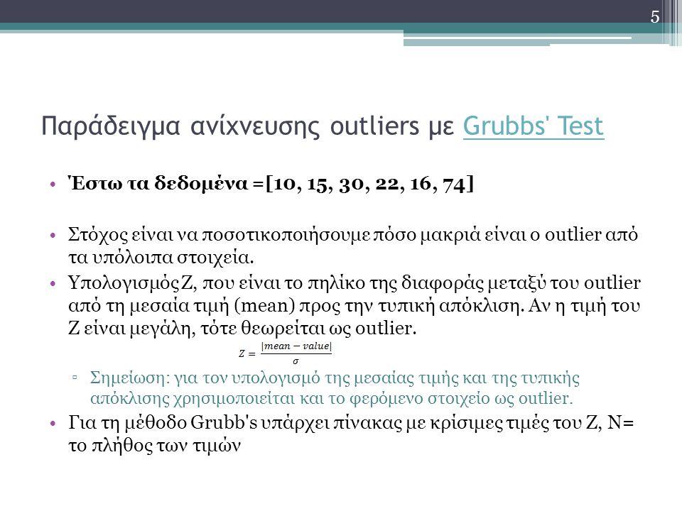 Παράδειγμα ανίχνευσης outliers με Grubbs' TestGrubbs' Test Έστω τα δεδομένα =[10, 15, 30, 22, 16, 74] Στόχος είναι να ποσοτικοποιήσουμε πόσο μακριά εί