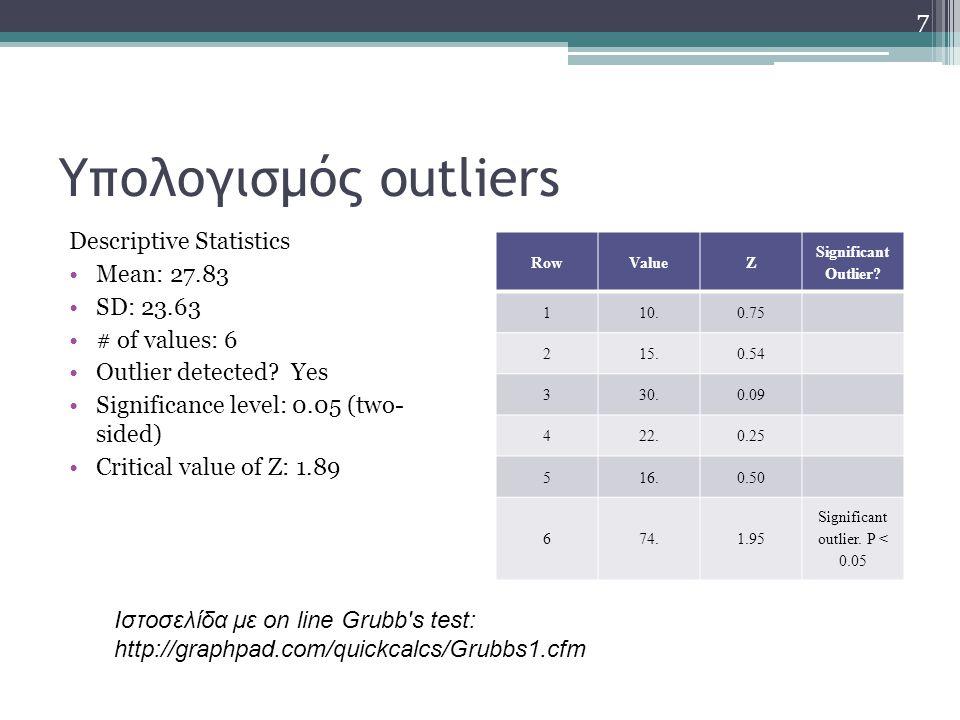 Υπολογισμός outliers Descriptive Statistics Mean: 27.83 SD: 23.63 # of values: 6 Outlier detected? Yes Significance level: 0.05 (two- sided) Critical