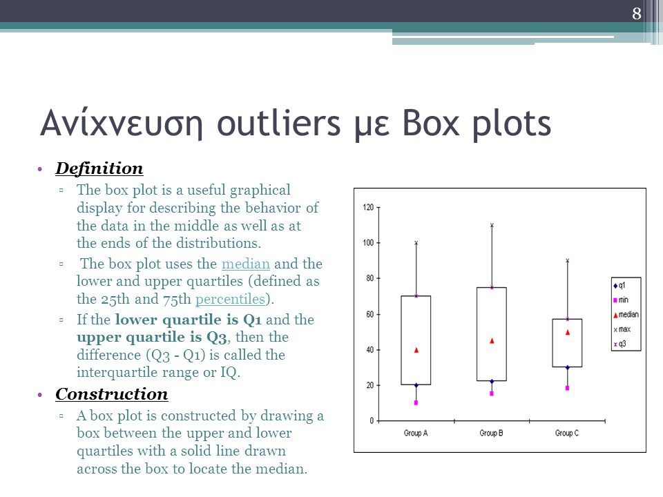 Box plots with fences The following quantities (called fences) are needed for identifying extreme values in the tails of the distribution ▫lower inner fence: Q1 - 1.5*IQ ▫upper inner fence: Q3 + 1.5*IQ ▫lower outer fence: Q1 - 3*IQ ▫upper outer fence: Q3 + 3*IQ 9
