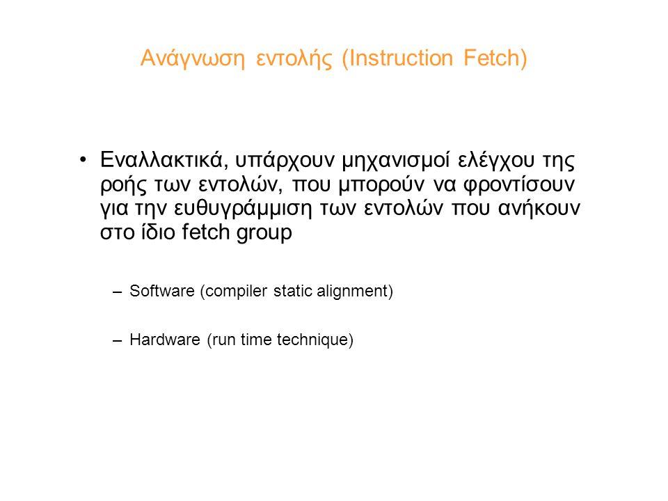 Ανάγνωση εντολής (Instruction Fetch) Εναλλακτικά, υπάρχουν μηχανισμοί ελέγχου της ροής των εντολών, που μπορούν να φροντίσουν για την ευθυγράμμιση των εντολών που ανήκουν στο ίδιο fetch group –Software (compiler static alignment) –Hardware (run time technique)