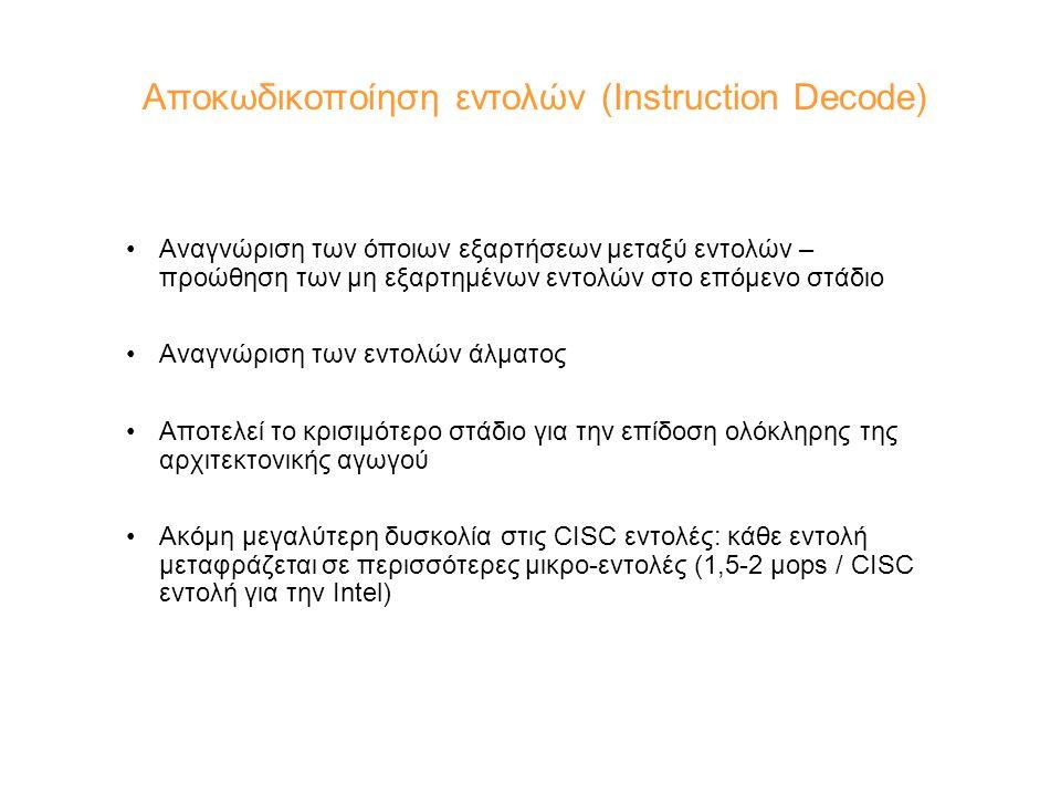 Αποκωδικοποίηση εντολών (Instruction Decode) Αναγνώριση των όποιων εξαρτήσεων μεταξύ εντολών – προώθηση των μη εξαρτημένων εντολών στο επόμενο στάδιο Αναγνώριση των εντολών άλματος Αποτελεί το κρισιμότερο στάδιο για την επίδοση ολόκληρης της αρχιτεκτονικής αγωγού Ακόμη μεγαλύτερη δυσκολία στις CISC εντολές: κάθε εντολή μεταφράζεται σε περισσότερες μικρο-εντολές (1,5-2 μops / CISC εντολή για την Intel)