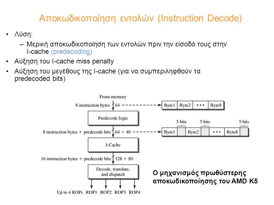 Αποκωδικοποίηση εντολών (Instruction Decode) Λύση: –Μερική αποκωδικοποίηση των εντολών πριν την είσοδό τους στην I-cache (predecoding) Αύξηση του I-ca