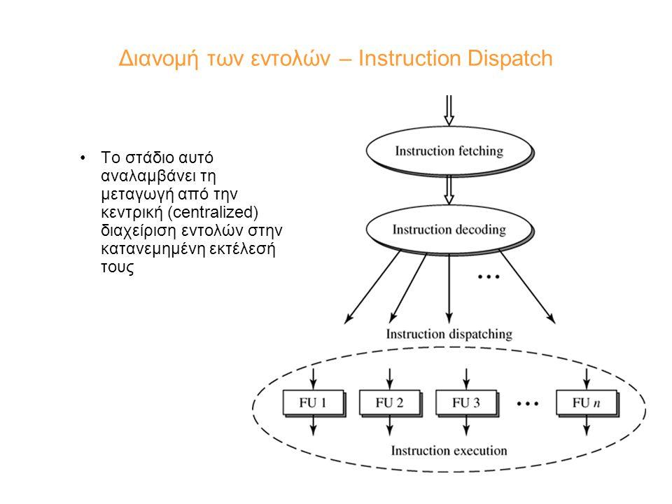 Διανομή των εντολών – Instruction Dispatch Το στάδιο αυτό αναλαμβάνει τη μεταγωγή από την κεντρική (centralized) διαχείριση εντολών στην κατανεμημένη εκτέλεσή τους