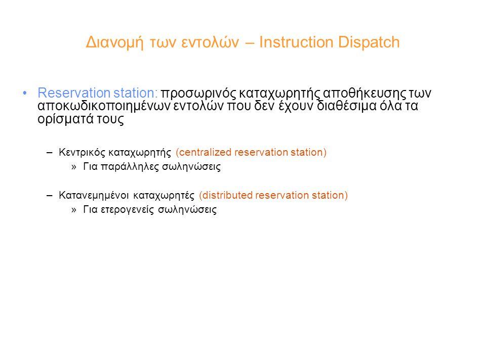 Διανομή των εντολών – Instruction Dispatch Reservation station: προσωρινός καταχωρητής αποθήκευσης των αποκωδικοποιημένων εντολών που δεν έχουν διαθέσιμα όλα τα ορίσματά τους –Κεντρικός καταχωρητής (centralized reservation station) »Για παράλληλες σωληνώσεις –Κατανεμημένοι καταχωρητές (distributed reservation station) »Για ετερογενείς σωληνώσεις