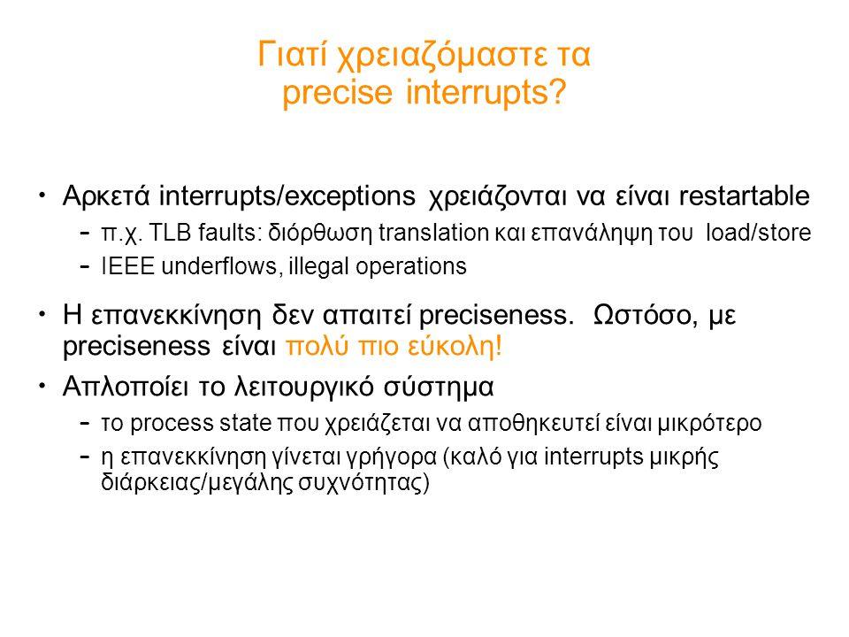 Γιατί χρειαζόμαστε τα precise interrupts? Η επανεκκίνηση δεν απαιτεί preciseness. Ωστόσο, με preciseness είναι πολύ πιο εύκολη! Απλοποίει το λειτουργι