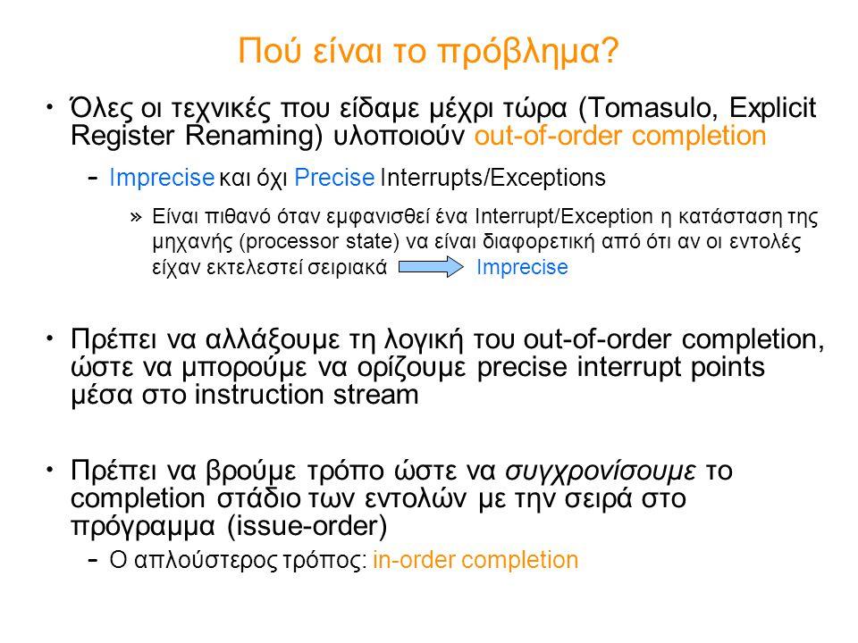 Όλες οι τεχνικές που είδαμε μέχρι τώρα (Tomasulo, Explicit Register Renaming) υλοποιούν out-of-order completion – Imprecise και όχι Precise Interrupts/Exceptions » Είναι πιθανό όταν εμφανισθεί ένα Interrupt/Exception η κατάσταση της μηχανής (processor state) να είναι διαφορετική από ότι αν οι εντολές είχαν εκτελεστεί σειριακά Imprecise Πρέπει να αλλάξουμε τη λογική του out-of-order completion, ώστε να μπορούμε να ορίζουμε precise interrupt points μέσα στο instruction stream Πρέπει να βρούμε τρόπο ώστε να συγχρονίσουμε το completion στάδιο των εντολών με την σειρά στο πρόγραμμα (issue-order) – Ο απλούστερος τρόπος: in-order completion Πού είναι το πρόβλημα?