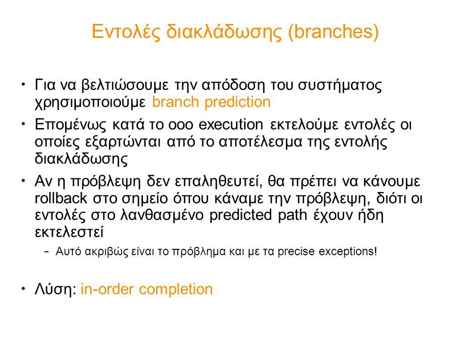 Εντολές διακλάδωσης (branches) Για να βελτιώσουμε την απόδοση του συστήματος χρησιμοποιούμε branch prediction Επομένως κατά το ooo execution εκτελούμε εντολές οι οποίες εξαρτώνται από το αποτέλεσμα της εντολής διακλάδωσης Αν η πρόβλεψη δεν επαληθευτεί, θα πρέπει να κάνουμε rollback στο σημείο όπου κάναμε την πρόβλεψη, διότι οι εντολές στο λανθασμένο predicted path έχουν ήδη εκτελεστεί – Αυτό ακριβώς είναι το πρόβλημα και με τα precise exceptions.