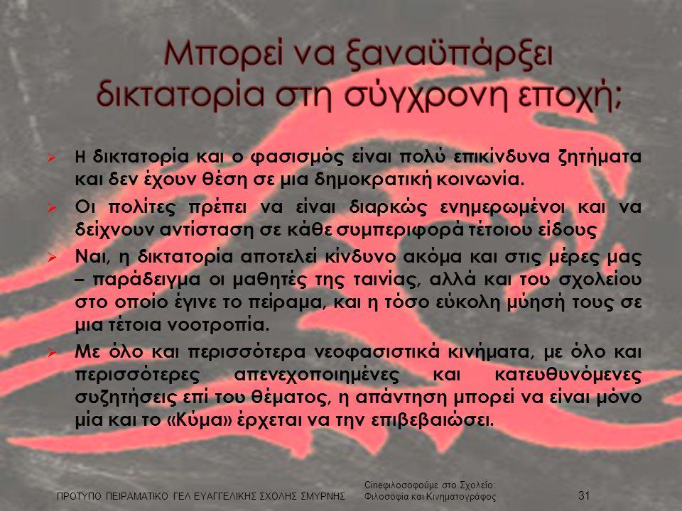  Η δικτατορία και ο φασισμός είναι πολύ επικίνδυνα ζητήματα και δεν έχουν θέση σε μια δημοκρατική κοινωνία.