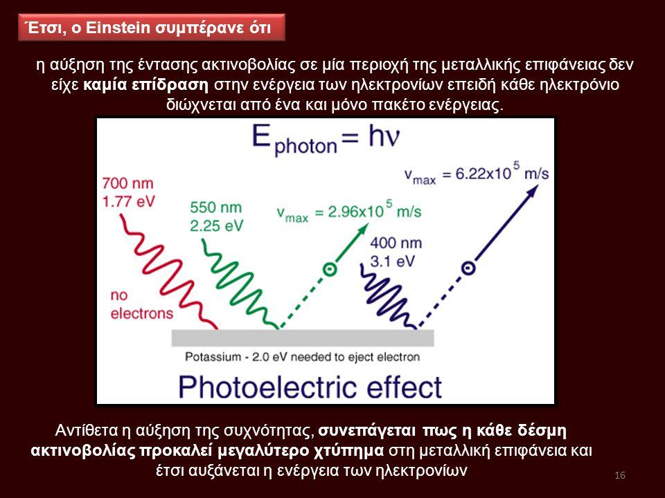 η αύξηση της έντασης ακτινοβολίας σε μία περιοχή της μεταλλικής επιφάνειας δεν είχε καμία επίδραση στην ενέργεια των ηλεκτρονίων επειδή κάθε ηλεκτρόνι