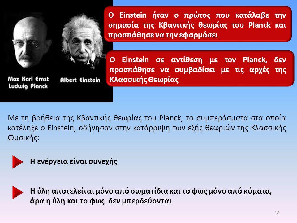 Ο Einstein σε αντίθεση με τον Planck, δεν προσπάθησε να συμβαδίσει με τις αρχές της Κλασσικής Θεωρίας Ο Einstein ήταν ο πρώτος που κατάλαβε την σημασί
