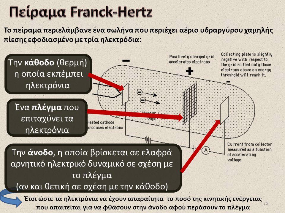 26 Το πείραμα περιελάμβανε ένα σωλήνα που περιέχει αέριο υδραργύρου χαμηλής πίεσης εφοδιασμένο με τρία ηλεκτρόδια: Έτσι ώστε τα ηλεκτρόνια να έχουν απ