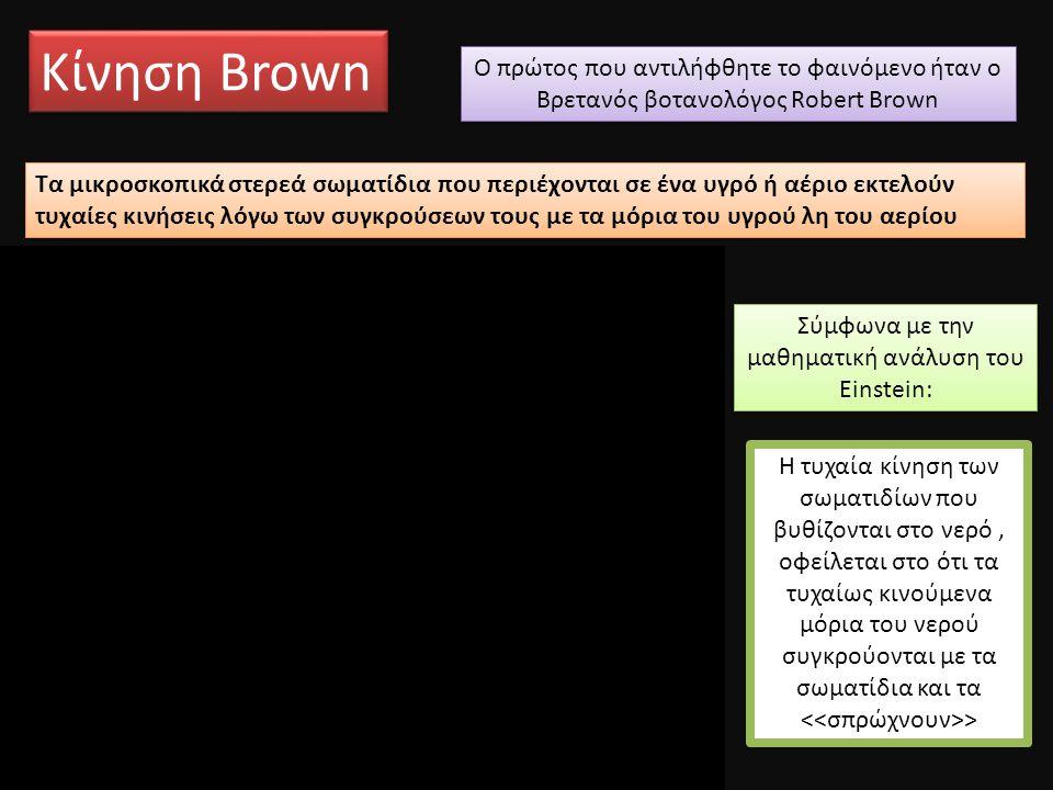 Κίνηση Brown Τα μικροσκοπικά στερεά σωματίδια που περιέχονται σε ένα υγρό ή αέριο εκτελούν τυχαίες κινήσεις λόγω των συγκρούσεων τους με τα μόρια του