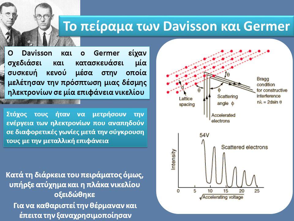 Ο Davisson και ο Germer είχαν σχεδιάσει και κατασκευάσει μία συσκευή κενού μέσα στην οποία μελέτησαν την πρόσπτωση μιας δέσμης ηλεκτρονίων σε μία επιφ