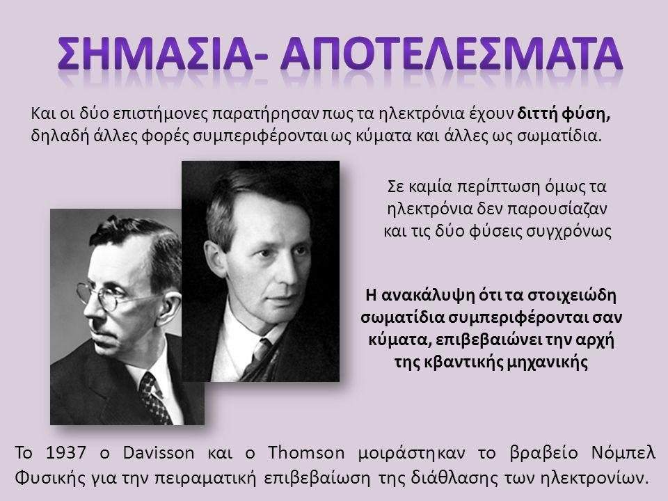 Η ανακάλυψη ότι τα στοιχειώδη σωματίδια συμπεριφέρονται σαν κύματα, επιβεβαιώνει την αρχή της κβαντικής μηχανικής Το 1937 ο Davisson και ο Thomson μοι