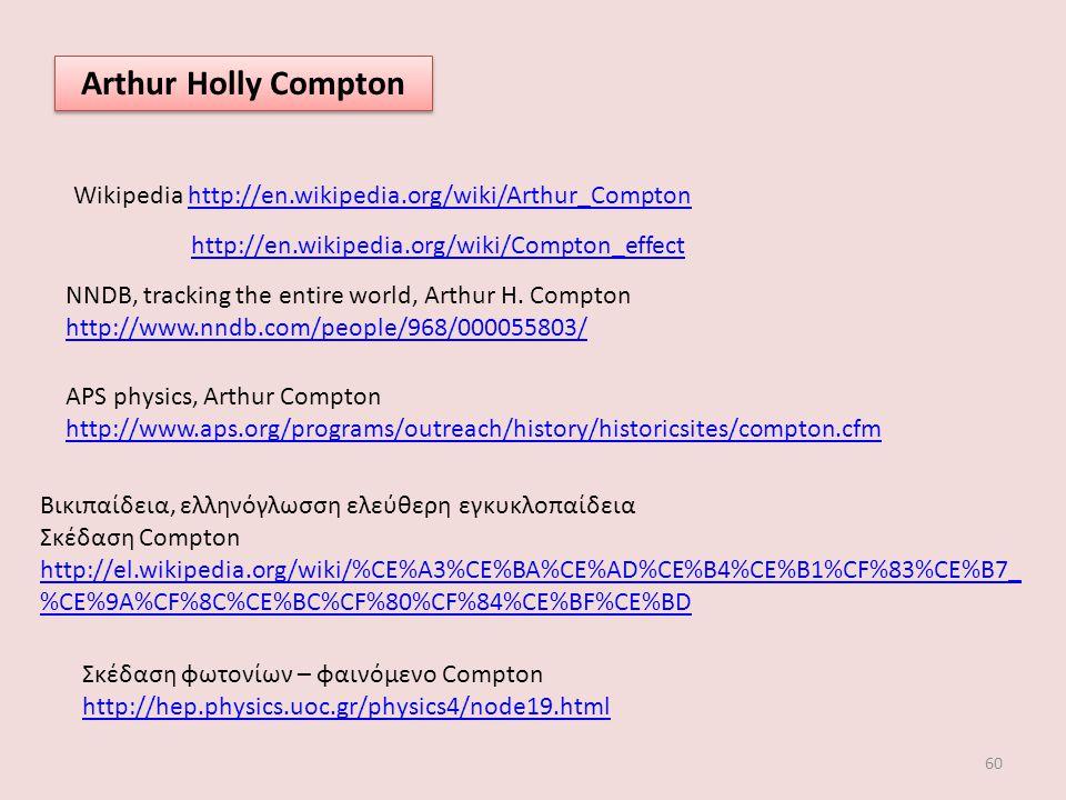 60 Arthur Holly Compton Wikipedia http://en.wikipedia.org/wiki/Arthur_Comptonhttp://en.wikipedia.org/wiki/Arthur_Compton http://en.wikipedia.org/wiki/