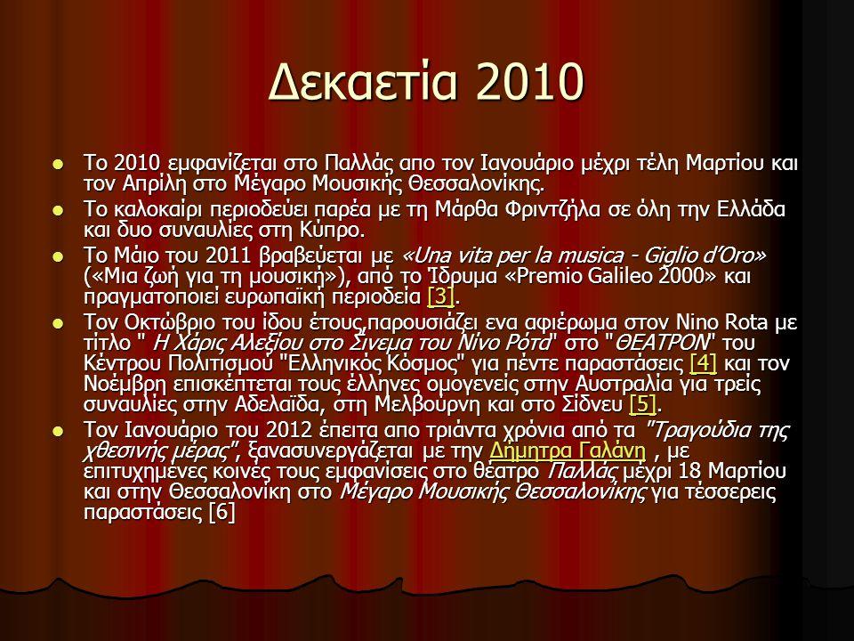 Δεκαετία 2010 Το 2010 εμφανίζεται στο Παλλάς απο τον Ιανουάριο μέχρι τέλη Μαρτίου και τον Απρίλη στο Μέγαρο Μουσικής Θεσσαλονίκης.