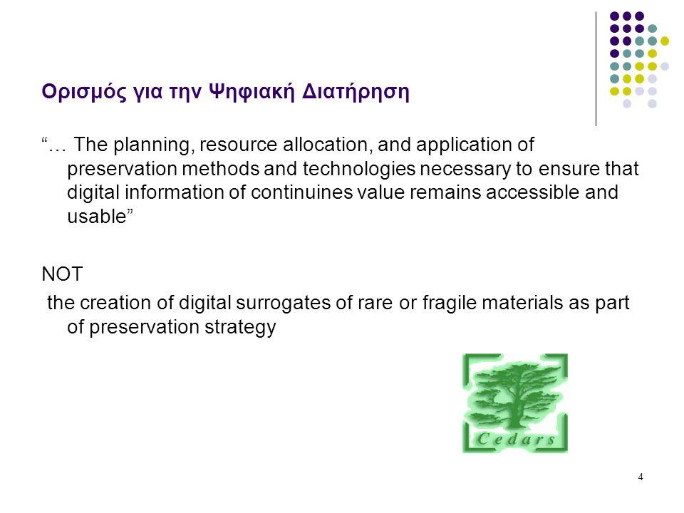 5 Στόχοι της Ψηφιακής Διατήρησης Ακεραιότητα αντιγράφων (& παραγώγων) μέσω: Περιεχομένου Σταθερότητας Αναφοράς Προέλευσης Πλαισίου