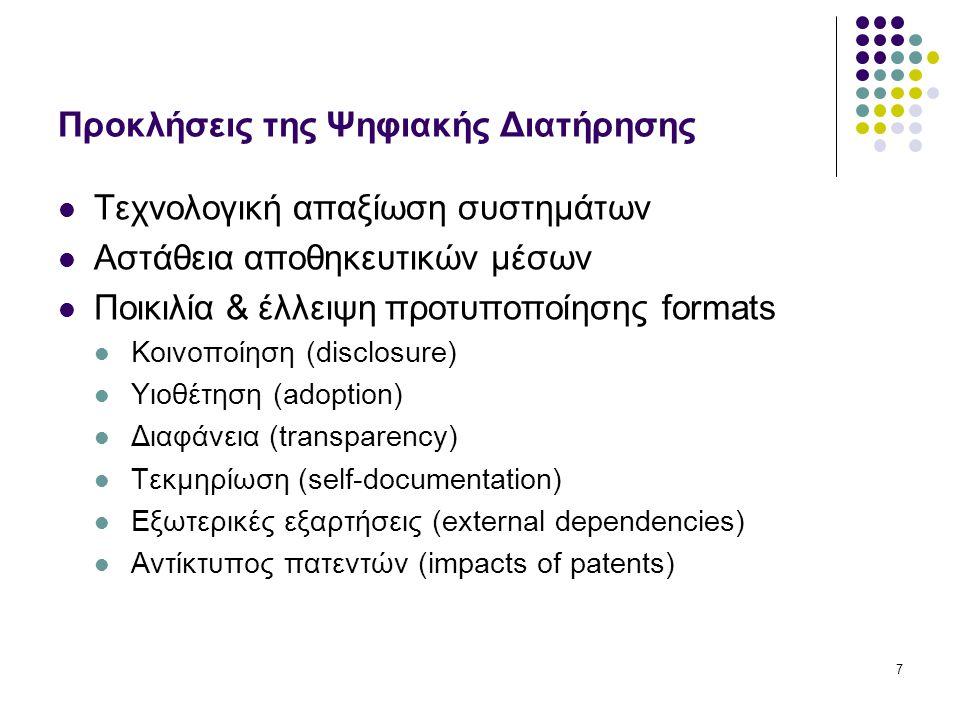 7 Προκλήσεις της Ψηφιακής Διατήρησης Τεχνολογική απαξίωση συστημάτων Αστάθεια αποθηκευτικών μέσων Ποικιλία & έλλειψη προτυποποίησης formats Κοινοποίηση (disclosure) Υιοθέτηση (adoption) Διαφάνεια (transparency) Τεκμηρίωση (self-documentation) Εξωτερικές εξαρτήσεις (external dependencies) Αντίκτυπος πατεντών (impacts of patents)