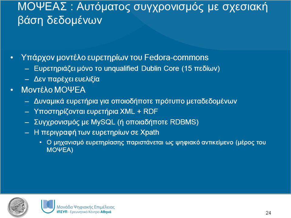 24 ΜΟΨΕΑΣ : Αυτόματος συγχρονισμός με σχεσιακή βάση δεδομένων Υπάρχον μοντέλο ευρετηρίων του Fedora-commons –Ευρετηριάζει μόνο το unqualified Dublin Core (15 πεδίων) –Δεν παρέχει ευελιξία Μοντέλο ΜΟΨΕΑ –Δυναμικά ευρετήρια για οποιοδήποτε πρότυπο μεταδεδομένων –Υποστηρίζονται ευρετήρια XML + RDF –Συγχρονισμός με MySQL (ή οποιαδήποτε RDBMS) –Η περιγραφή των ευρετηρίων σε Xpath Ο μηχανισμό ευρετηρίασης παριστάνεται ως ψηφιακό αντικείμενο (μέρος του ΜΟΨΕΑ)