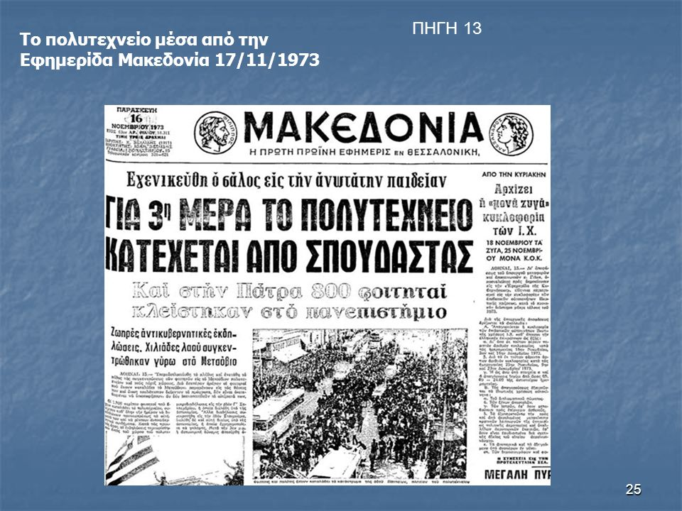 25 Το πολυτεχνείο μέσα από την Εφημερίδα Μακεδονία 17/11/1973 ΠΗΓΗ 13