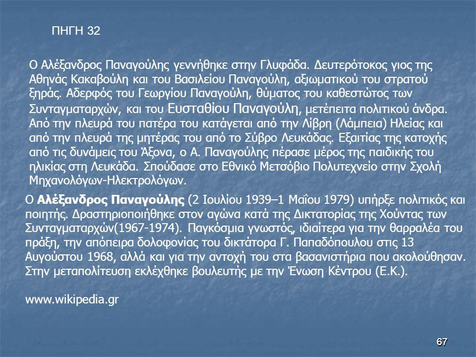 6767 Ο Αλέξανδρος Παναγούλης γεννήθηκε στην Γλυφάδα. Δευτερότοκος γιος της Αθηνάς Κακαβούλη και του Βασιλείου Παναγούλη, αξιωματικού του στρατού ξηράς