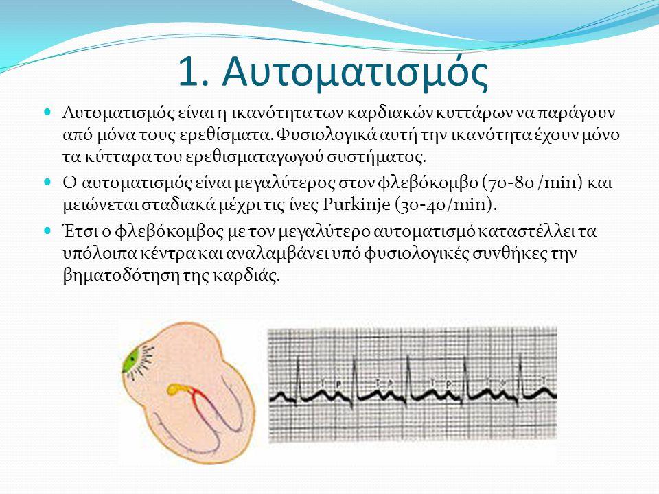 1. Aυτοματισμός Αυτοματισμός είναι η ικανότητα των καρδιακών κυττάρων να παράγουν από μόνα τους ερεθίσματα. Φυσιολογικά αυτή την ικανότητα έχουν μόνο