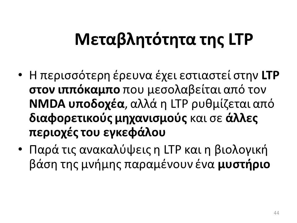 Μεταβλητότητα της LTP Η περισσότερη έρευνα έχει εστιαστεί στην LTP στον ιππόκαμπο που μεσολαβείται από τον NMDA υποδοχέα, αλλά η LTP ρυθμίζεται από δι