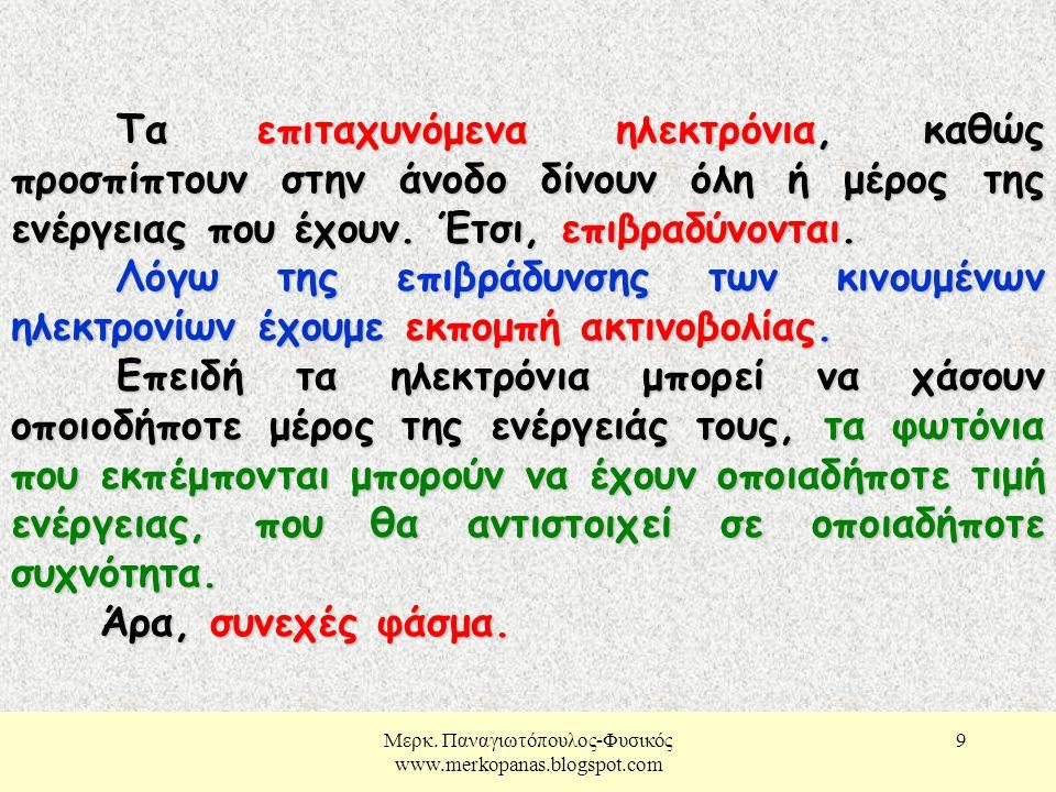 Μερκ. Παναγιωτόπουλος-Φυσικός www.merkopanas.blogspot.com 10 Εξήγηση γραμμικού φάσματος