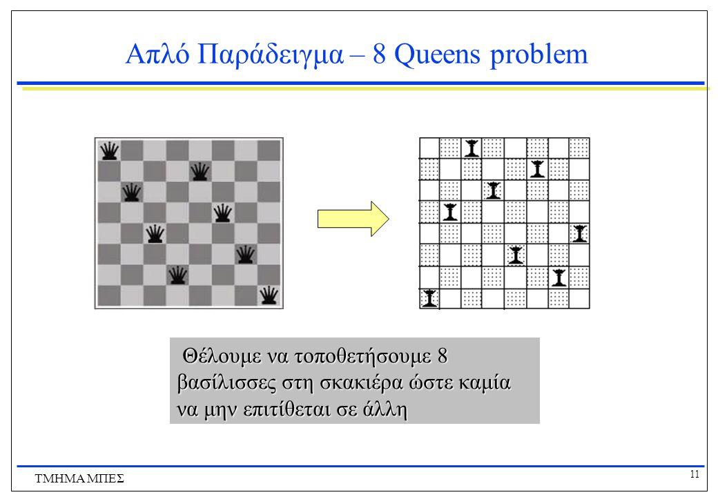 11 ΤΜΗΜΑ ΜΠΕΣ Απλό Παράδειγμα – 8 Queens problem Θέλουμε να τοποθετήσουμε 8 βασίλισσες στη σκακιέρα ώστε καμία να μην επιτίθεται σε άλλη