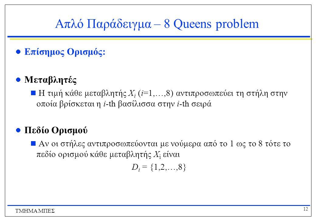 12 ΤΜΗΜΑ ΜΠΕΣ Απλό Παράδειγμα – 8 Queens problem Επίσημος Ορισμός: Μεταβλητές  Η τιμή κάθε μεταβλητής X i (i=1,…,8) αντιπροσωπεύει τη στήλη στην οποία βρίσκεται η i-th βασίλισσα στην i-th σειρά Πεδίο Ορισμού  Αν οι στήλες αντιπροσωπεύονται με νούμερα από το 1 ως το 8 τότε το πεδίο ορισμού κάθε μεταβλητής X i είναι D i = {1,2,…,8}