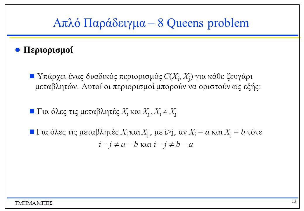13 ΤΜΗΜΑ ΜΠΕΣ Απλό Παράδειγμα – 8 Queens problem Περιορισμοί  Υπάρχει ένας δυαδικός περιορισμός C(X i, X j ) για κάθε ζευγάρι μεταβλητών.
