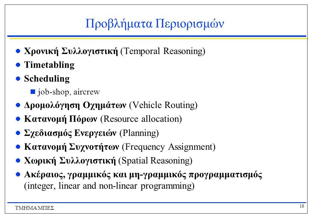 16 ΤΜΗΜΑ ΜΠΕΣ Προβλήματα Περιορισμών Χρονική Συλλογιστική (Temporal Reasoning) Timetabling Scheduling  job-shop, aircrew Δρομολόγηση Οχημάτων (Vehicle Routing) Κατανομή Πόρων (Resource allocation) Σχεδιασμός Ενεργειών (Planning) Κατανομή Συχνοτήτων (Frequency Assignment) Χωρική Συλλογιστική (Spatial Reasoning) Ακέραιος, γραμμικός και μη-γραμμικός προγραμματισμός (integer, linear and non-linear programming)