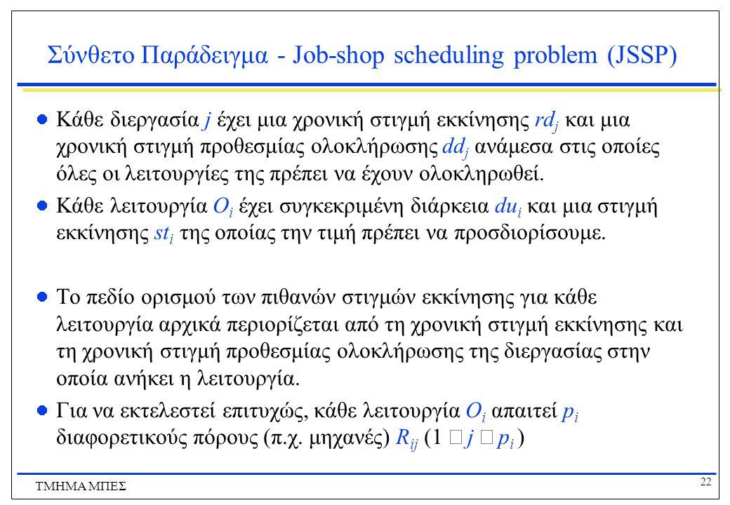 22 ΤΜΗΜΑ ΜΠΕΣ Σύνθετο Παράδειγμα - Job-shop scheduling problem (JSSP) Κάθε διεργασία j έχει μια χρονική στιγμή εκκίνησης rd j και μια χρονική στιγμή προθεσμίας ολοκλήρωσης dd j ανάμεσα στις οποίες όλες οι λειτουργίες της πρέπει να έχουν ολοκληρωθεί.