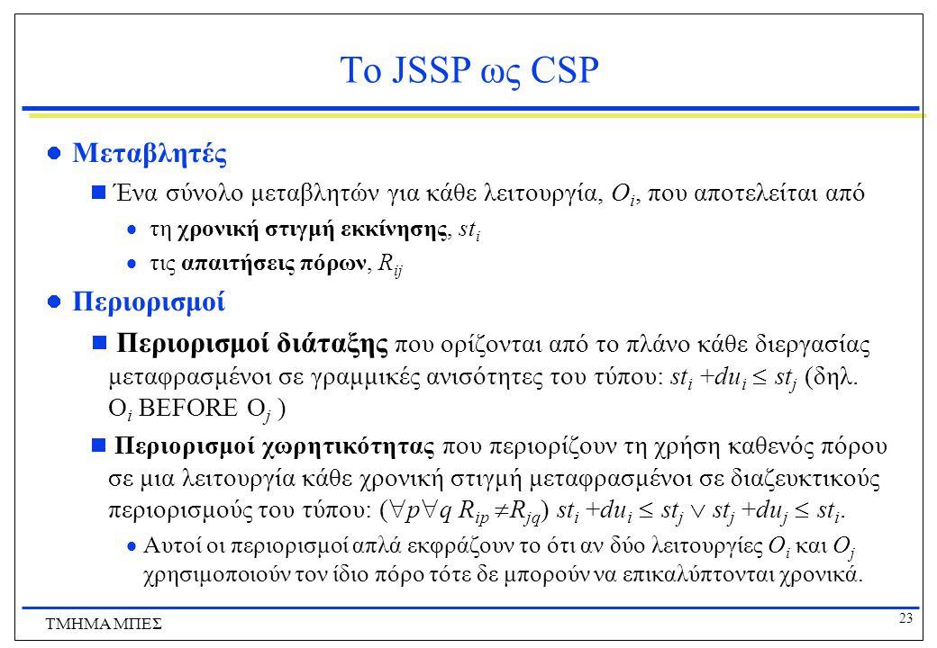 23 ΤΜΗΜΑ ΜΠΕΣ Το JSSP ως CSP Μεταβλητές  Ένα σύνολο μεταβλητών για κάθε λειτουργία, O i, που αποτελείται από  τη χρονική στιγμή εκκίνησης, st i  τις απαιτήσεις πόρων, R ij Περιορισμοί  Περιορισμοί διάταξης που ορίζονται από το πλάνο κάθε διεργασίας μεταφρασμένοι σε γραμμικές ανισότητες του τύπου: st i +du i  st j (δηλ.