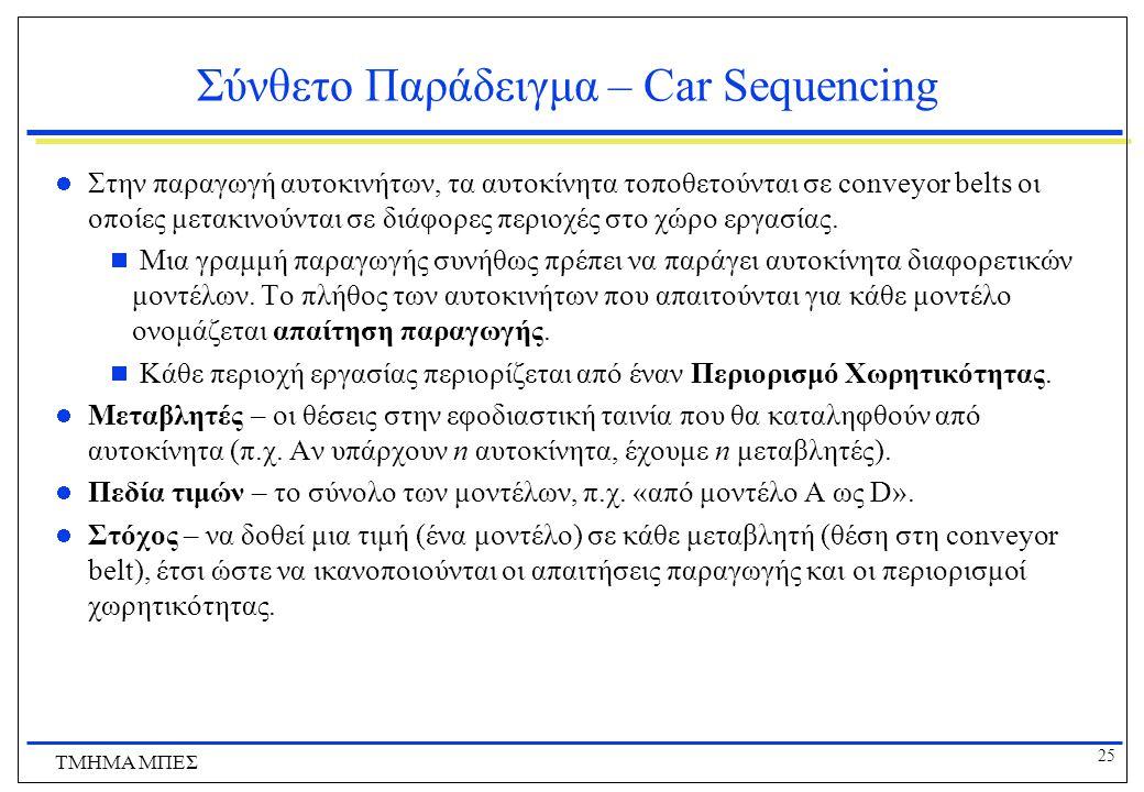 25 ΤΜΗΜΑ ΜΠΕΣ Σύνθετο Παράδειγμα – Car Sequencing Στην παραγωγή αυτοκινήτων, τα αυτοκίνητα τοποθετούνται σε conveyor belts οι οποίες μετακινούνται σε διάφορες περιοχές στο χώρο εργασίας.