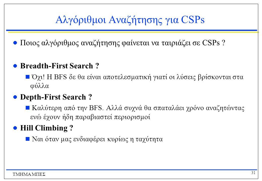 31 ΤΜΗΜΑ ΜΠΕΣ Αλγόριθμοι Αναζήτησης για CSPs Ποιος αλγόριθμος αναζήτησης φαίνεται να ταιριάζει σε CSPs ? Breadth-First Search ?  Όχι! Η BFS δε θα είν