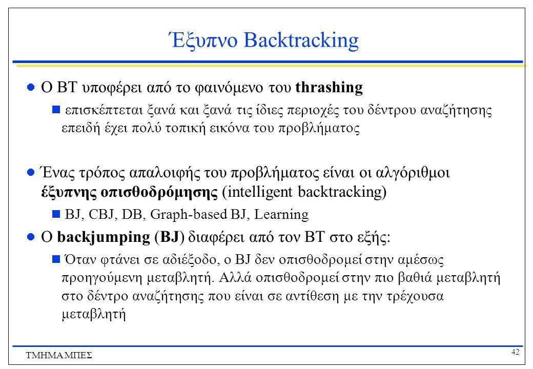 42 ΤΜΗΜΑ ΜΠΕΣ Έξυπνο Backtracking O ΒΤ υποφέρει από το φαινόμενο του thrashing  επισκέπτεται ξανά και ξανά τις ίδιες περιοχές του δέντρου αναζήτησης επειδή έχει πολύ τοπική εικόνα του προβλήματος Ένας τρόπος απαλοιφής του προβλήματος είναι οι αλγόριθμοι έξυπνης οπισθοδρόμησης (intelligent backtracking)  BJ, CBJ, DB, Graph-based BJ, Learning Ο backjumping (BJ) διαφέρει από τον ΒΤ στο εξής:  Όταν φτάνει σε αδιέξοδο, ο BJ δεν οπισθοδρομεί στην αμέσως προηγούμενη μεταβλητή.