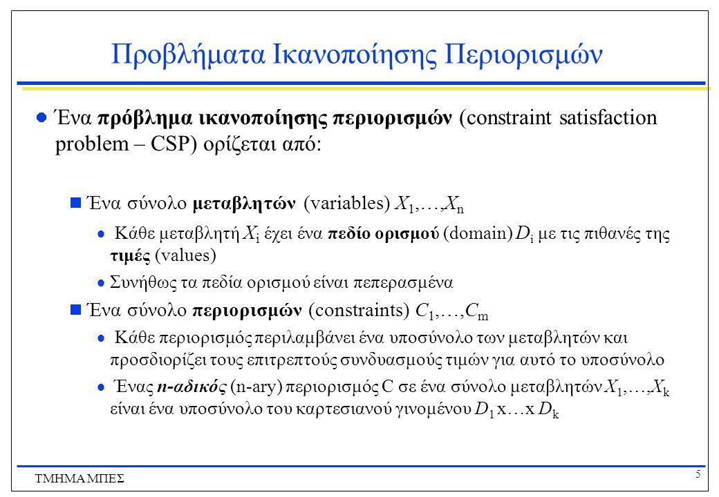 5 ΤΜΗΜΑ ΜΠΕΣ Προβλήματα Ικανοποίησης Περιορισμών Ένα πρόβλημα ικανοποίησης περιορισμών (constraint satisfaction problem – CSP) ορίζεται από:  Ένα σύνολο μεταβλητών (variables) X 1,…,X n  Κάθε μεταβλητή Χ i έχει ένα πεδίο ορισμού (domain) D i με τις πιθανές της τιμές (values)  Συνήθως τα πεδία ορισμού είναι πεπερασμένα  Ένα σύνολο περιορισμών (constraints) C 1,…,C m  Κάθε περιορισμός περιλαμβάνει ένα υποσύνολο των μεταβλητών και προσδιορίζει τους επιτρεπτούς συνδυασμούς τιμών για αυτό το υποσύνολο  Ένας n-αδικός (n-ary) περιορισμός C σε ένα σύνολο μεταβλητών X 1,…,X k είναι ένα υποσύνολο του καρτεσιανού γινομένου D 1 x…x D k