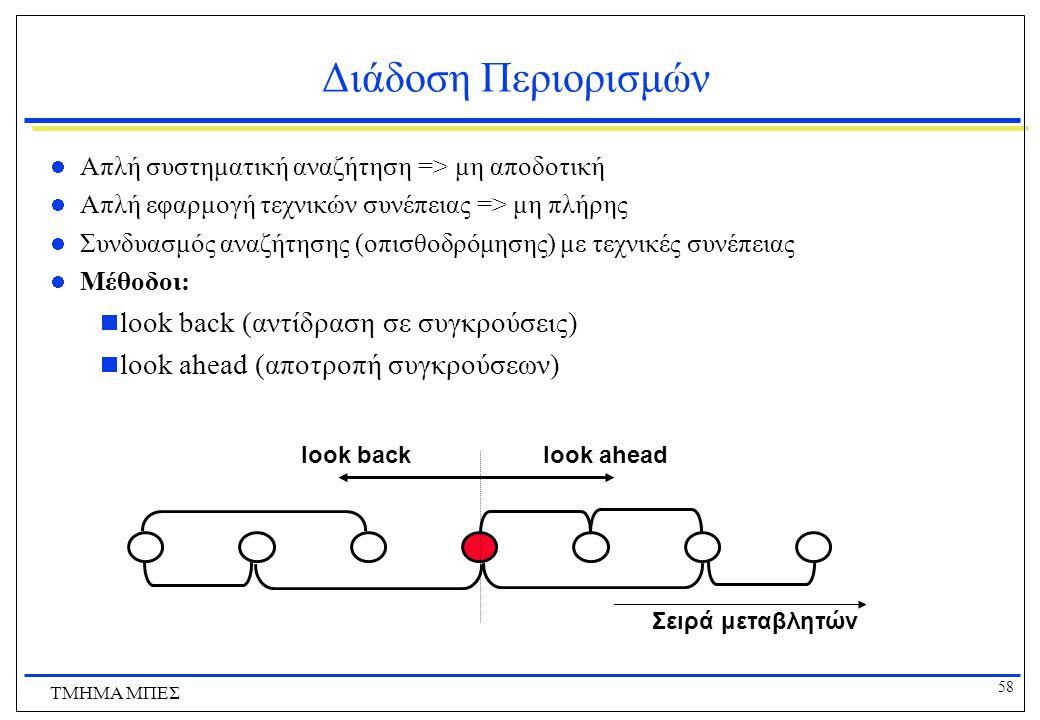 58 ΤΜΗΜΑ ΜΠΕΣ Διάδοση Περιορισμών Απλή συστηματική αναζήτηση => μη αποδοτική Απλή εφαρμογή τεχνικών συνέπειας => μη πλήρης Συνδυασμός αναζήτησης (οπισθοδρόμησης) με τεχνικές συνέπειας Μέθοδοι:  look back (αντίδραση σε συγκρούσεις)  look ahead (αποτροπή συγκρούσεων) look back Σειρά μεταβλητών look ahead