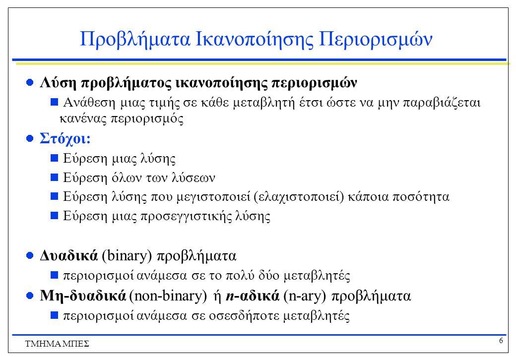 6 ΤΜΗΜΑ ΜΠΕΣ Προβλήματα Ικανοποίησης Περιορισμών Λύση προβλήματος ικανοποίησης περιορισμών  Ανάθεση μιας τιμής σε κάθε μεταβλητή έτσι ώστε να μην παραβιάζεται κανένας περιορισμός Στόχοι:  Εύρεση μιας λύσης  Εύρεση όλων των λύσεων  Εύρεση λύσης που μεγιστοποιεί (ελαχιστοποιεί) κάποια ποσότητα  Εύρεση μιας προσεγγιστικής λύσης Δυαδικά (binary) προβλήματα  περιορισμοί ανάμεσα σε το πολύ δύο μεταβλητές Μη-δυαδικά (non-binary) ή n-αδικά (n-ary) προβλήματα  περιορισμοί ανάμεσα σε οσεσδήποτε μεταβλητές